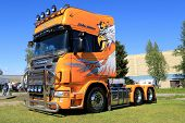 Yellow Scania V8 Truck In A Show