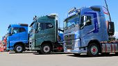 Three New Volvo Euro 6 FH Trucks In A Show