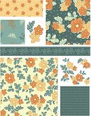 1940s Inspired Vector Seamless Rose Patterns and Icons. Use as fills, digital paper, or print off onto fabric to create unique items.