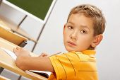 Portrait of smart lad at his place looking at camera during lesson