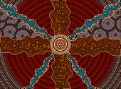 A Illustration Based On Aboriginal Style Of Dot Painting Depicting Impacts