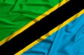 Tanzania Flag On A Silk Drape Waving