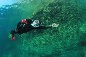 Snorkeling and freediving in ocean