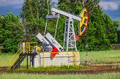stock photo of nonrenewable  - Oil Pump on a background of forest in Russia - JPG