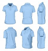 All views men's blue short sleeve polo-shirt design templates (front, back, half-turned and side views). Vector illustration. No mesh.