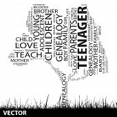 Vector concept or conceptual black education text word cloud or tagcloud as tree and grass isolated