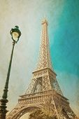 Vintage Eiffel Tower (nickname La dame de fer, the iron lady),The tower has become the most prominen