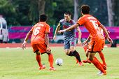 Sisaket Thailand-june 29: Romain Gasmi Of Bangkok Utd. (grey) In Action During Thai Premier League B