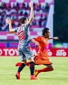 Sisaket Thailand-june 29: Somsak Wongyai Of Sisaket Fc. (orange) In Action During Thai Premier Leagu