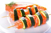 Salmon and courgette shashlik for healthy barbecue