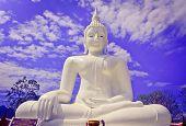 White Seated Buddha Image - Oil Painting