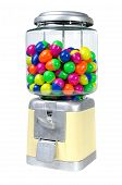 stock photo of gumball machine  - Vintage Eggs Slot Machine isolate on White Background  - JPG