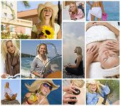 Montage of beautiful female girl young woman enjoying a healthy active lifestyle, shopping, relaxing