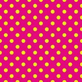 Seamless vector summer pattern or tile background with sunny yellow polka dots on neon pink