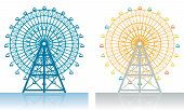 stock photo of amusement park rides  - Two illustrations of a Ferris wheel at the fair - JPG