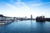 FRANKFURT, HESSE-February 12,River view of Frankfurt am Main. Frankfurt, is the largest city in the