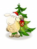 Lovely lamb in Santa's cap with lantern