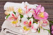 spa setting with alstroemeria flowers