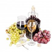 White and red wine isolated on white