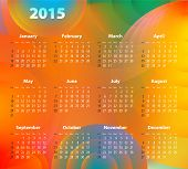 English Calendar For 2015 On Abstract Circles. Sundays First