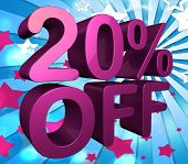 Twenty Percent Off Represents Discount Savings And Reduction