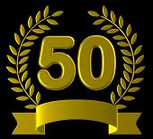 Fiftieth Birthday Means Happy Party And Congratulations