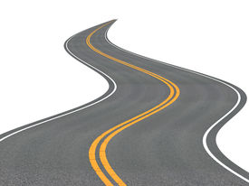 stock photo of long winding road  - Long winding road disappearing into the distance - JPG