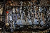 Old Photo With Old Silver Teaspoons