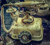 Old Photo With Old Telephone In Marble Casing