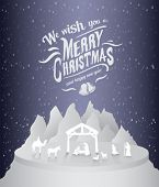 Digitally generated Merry christmas vector with nativity scene