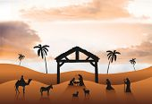 Digitally generated Nativity scene vector in desert