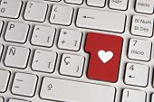 Love Concept, Heart Shape Keyboard Key.