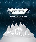 Digitally generated Christmas vector with nativity scene