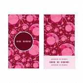 Vector ruby vertical round frame pattern business cards set
