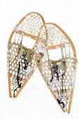 Vertical Wood Snowshoes On White