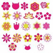 Flower Vector Symbols  Icon Set- Illustration