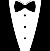 Flat black and white tuxedo bow tie