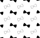 pic of bowing  - Seamless black and white bow tie pattern abstract - JPG