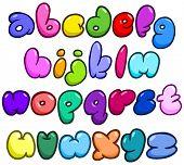 Comic bubble shaped lower case alphabet set