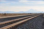Railroad tracks with Mt. Shasta in Northern California