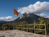Catalan Flag In Front Of The Mountain Pedraforca