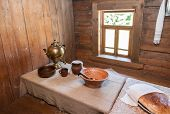 Interior Of Old Rural Wooden House In The Museum Of Wooden Architecture Vitoslavlitsy, Novgorod Regi