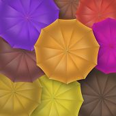 Opened umbrellas top view, closeup.