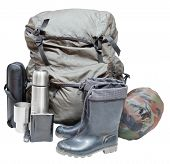 Camping Equipment Isolated On White Background