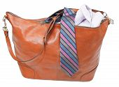 Male Leather Handbag With Shirt And Tie Isolated