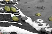 Moss Covered Rocks On Frozen Lake