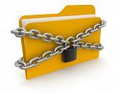 folder with files and lock (clipping path included)