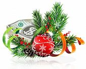 foto of winterberry  - Christmas baubles with money and fir tree branches on white background - JPG