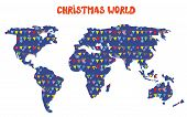 Christmas world map with decorations