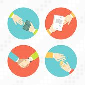 Hands With Business Object And Icons, Money, Contract, Partnership Set Flat Design Vector Illustrati